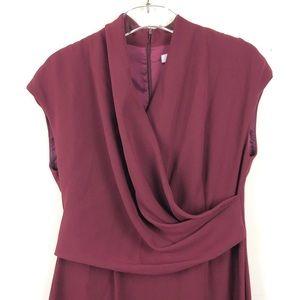MaxMara Dresses - New MaxMara Maroon Front Drape Midi Dress
